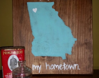 """11.5""""x12"""" Wooden State Sign-Georgia"""