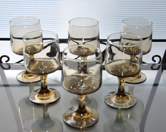 Vintage Amber Drink Glasses