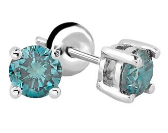 1/4 CTW Ocean Blue Round Cut Diamond Stud Earrings in 14K White Gold
