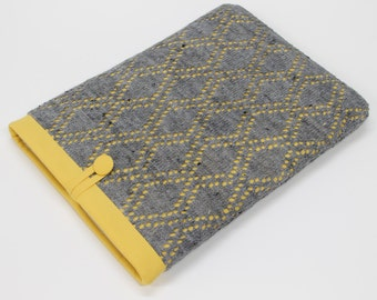 Grey and mustard yellow laptop case , Knit fabric laptop case, Chromebook Pixel case, laptop cover, HP Chromebook sleeve, laptop cover