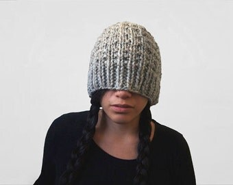 chunky textured hand knit winter beanie-- the synapse slouchy hat in grey marble