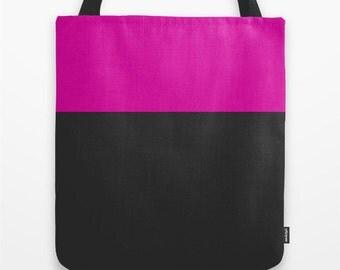 Pink Tote Bag Canvas Tote Bag  Color Block Bag Pink and Gray Tote Bag 16x16 Inch Tote Bag Fall Tote Bag