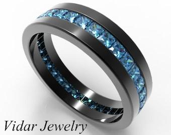 Mens Black Gold Ring, His Anniversary Ring, Black Band for Him, His Black Blue Ring, Custom Black Band, Black Gold and Diamond Wedding Band