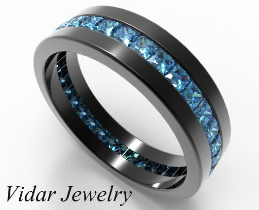 Black Gold Princess Cut Blue Diamond Wedding Band For MenMens