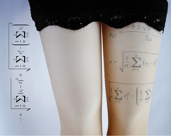 Cheat Sheet-Tattoo Tights With Mathematical formula Print, Handprinted  Womens Pantyhose, Printed Tights