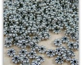 Spacer Beads - Snowflake, Daisy Spacer Bead (0991YAS) - 4.5mm - Antiqued Silver - Select Qty.