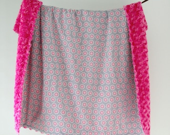 Large Baby/Toddler Blanket, Grey and Fuscia Pink Flowers with Fuscia Minky Swirl, Ready to Ship