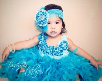 OOAK Turquoise Blue feather dress satin flowers & headband pageant holiday dress vintage tutu photo prop birthday baby flower girl toddler