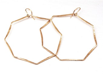 OCTAGONAL HOOP EARRINGS in 18K yellow gold - Gold hoops - 18K yellow gold hoops - Unique hoops- Octagon hoops