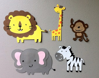 Set of 5 Jungle Safari Animals - Monkey, Lion, Giraffe, Zebra & Elephant