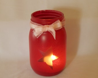 Mason Jar Candle Holder, Red Primitive Star Candle, Cottage Chic Decor