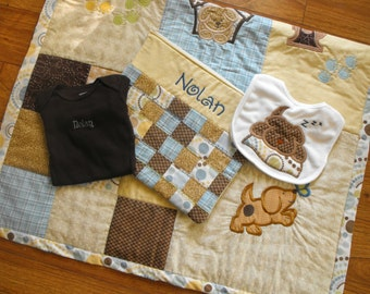 Machine Appliqued Baby Quilt Sets, machine embroidered quilt, embroidered patchwork baby quilt,