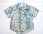 Vintage Toddler Clothes, Classic Vintage Hawaiian Shirt in blue With Tan Hibiscus. Size 2T. #