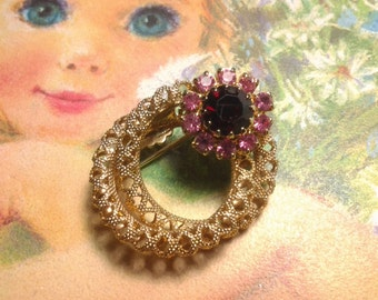 vintage costume jewelry brooch pin crystal flower