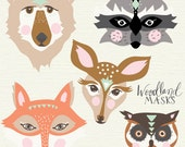 printable woodland masks - fox, bear, doe, raccoon and owl!