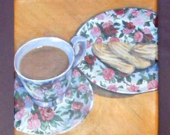 Painting of tea and biscuits