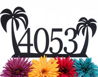 Tropical Palm Tree House Number Metal Sign - Black, 18x9.5, Outdoor Sign, Address Plaque, Outdoor Sign, Custom Sign