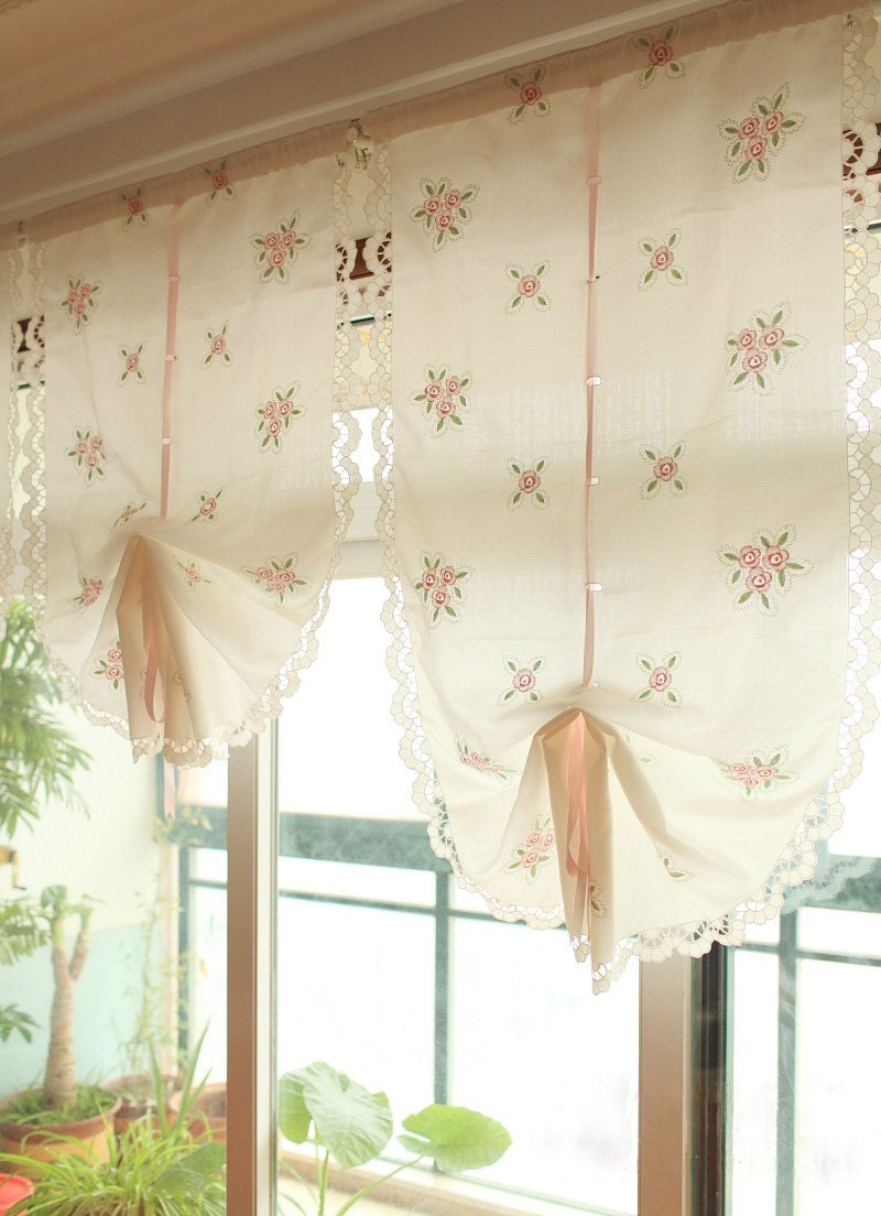 Pair of victorian shabby chic embroidery pink rose pull up - Shabby chic curtain poles ...