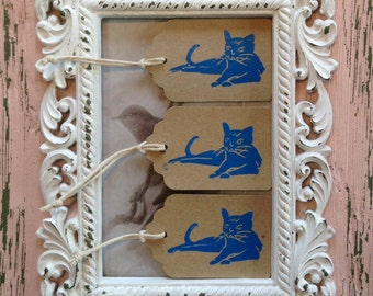 Cat gift tags, cat tags, hand printed cats, hand printed gift tags, hand printed tags, cat stationary, mini gift tags, linocut cats, cat tag