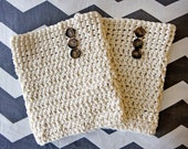 Crochet Boot Cuffs with Buttons- Oatmeal