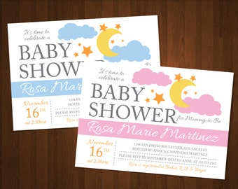 Clouds and Stars Baby Shower Invitations - Customized for DIY Printing