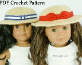 PDF CROCHET PATTERN - Sightseeing Hat for American Girl Dolls - Instant Download