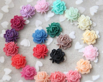 24 pcs of resin lotus rose  flower cabochon 16mm-0019