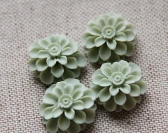 12 pcs of resin flower cabochon20mm-0031--51-tea powder green