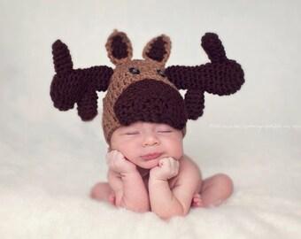 Crochet Baby Moose Hat