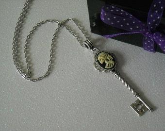 Ivory Lady Lolita Skull Silver tone Skeleton Key Necklace