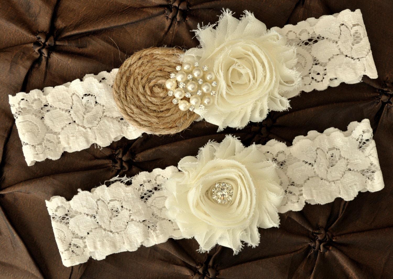 Burlap Rustic Wedding Garter Set Bridal Garter Set Rustic