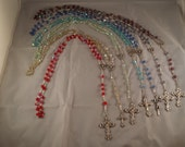 Hand Made Aurora Borealis Rosary Beads Silver w/Blues Green Purple Red Yellow Green