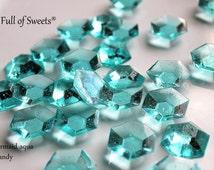 MINECRAFT Party 125 Edible AQUA Blue DIAMONDS Edible Sugar Jewels Barley Sugar Hard Candy Cake Cupcake Decor