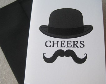 Set of 10 - Cheers - Hat and Mustache note cards