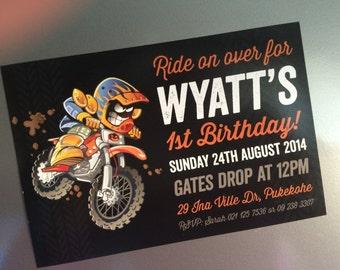 "Motocross Invitation DIY Printable 6x4"" for Birthday Party... Dirtbike, Honda Red, Yamaha Blue, Kawasaki Green, Suzuki Yellow, KTM Orange"