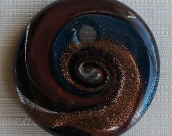 Round Pendant, 1 pc Extra Large Glass Pendant 55x30mm