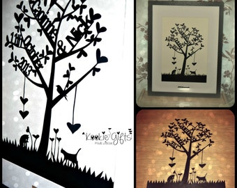 Wedding tree paper cut framed/ alternative guest book