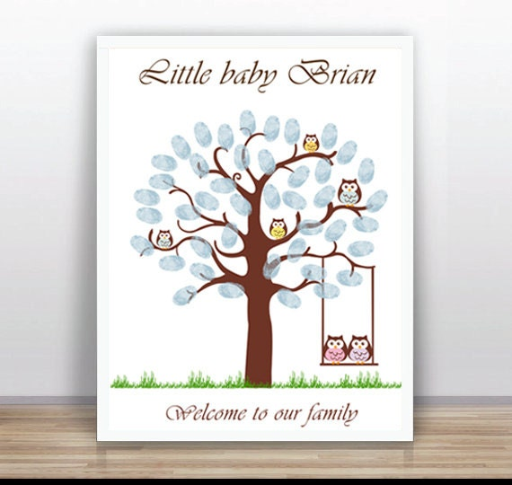 fingerprint tree baby shower thumbprint tree guest book poster