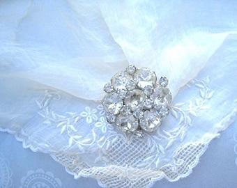 Kramer Of New York Vintage Crystal Rhinestone Brooch Round Austrian Crystals Vintage Bride Wedding Jewelry 1950's Mid Century Regency