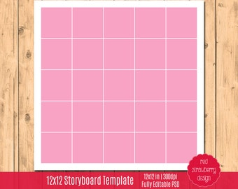 75% OFF Sale - 12x12 Storyboard Template - 25 Images - Square Corners -  Instant Download - PSD Layered File (TM102)