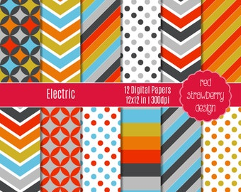 75% OFF Sale - Electric - 12 Digital Papers - Instant Download - Jpg 12x12 (DP215)