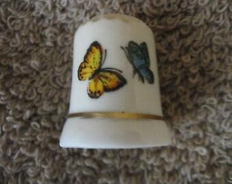 Butterflies Yellow & Blue Thimble Porcelain Vintage CollectibleT7