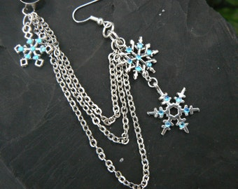 ONE snowflake ear cuff frozen ear cuff  chained earring rhinestones in frozen winter  hippie Christmas  beach hipster and fantasy style