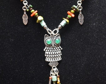 gemstone owl necklace earthtone silver feathers Czech beads in native american inspired tribal boho belly dancer and hipster style
