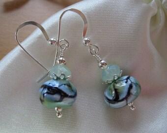 Lampwork Earrings, Storm on Sea, Handmade Lampwork Beads, Green White Royal Blue Earrings, Handmade Lampwork, Ocean, Ocean Storm, Sea Colors
