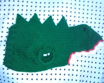 Hand Knit One-Size-Fits-Most Green Dinosaur Costume for Cats or Small Dogs