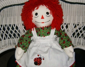 "25"" Ladybug Personalized Raggedy Ann Doll Handmade in the USA"