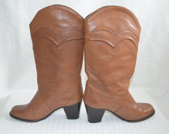 Vintage 'Frank More' Cowgirl Boots / Caramel Colored Leather / Stacked Heel- Women's 4