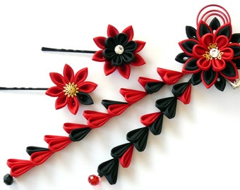 Kanzashi flowers. Set of 3 hair pieces. Red and black.
