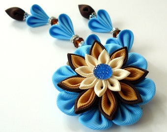 Kanzashi Fabric Flower hair clip with falls.  Shades of brown and blue.
